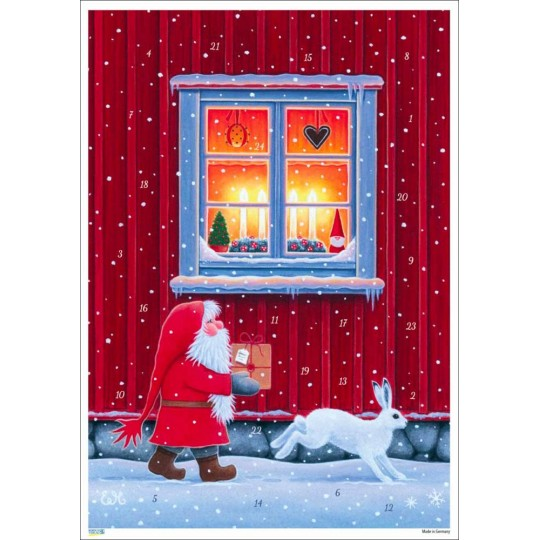 "Santa with Snow Bunny Paper Advent Calendar ~ 8-1/4"" x 11-5/8"""