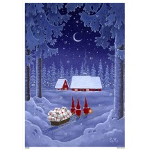 """Tomte Delivering Gifts Paper Advent Calendar ~ 8-1/4"""" x 11-5/8"""""""