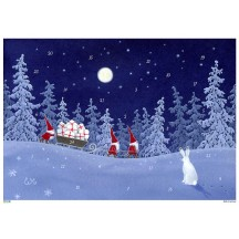 """Bunny Watching Tomte Delivering Gifts Paper Advent Calendar ~ 8-1/4"""" x 11-5/8"""""""