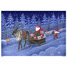 """Reindeer and Tomte Delivering Gifts Paper Advent Calendar ~ 8-1/4"""" x 11-5/8"""""""