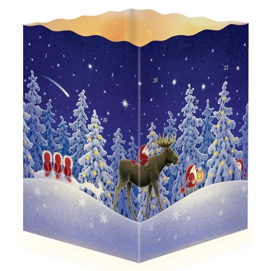 "Moose and Tomte Paper Lantern Advent Calendar ~ 8-1/4"" x 5-3/4"" x 5-3/4"""