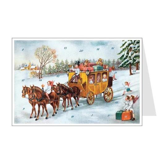 Angels Stagecoach Advent Calendar Card ~ Germany