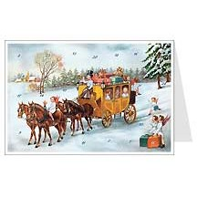 Angels Stagecoach Advent Calendar Card ~ Germany
