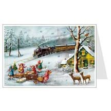 Angels Train Advent Calendar Card ~ Germany