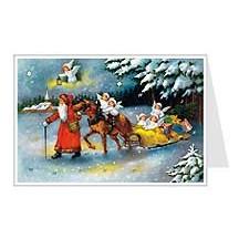 Santa with Angels Sleigh Advent Calendar Card ~ Germany