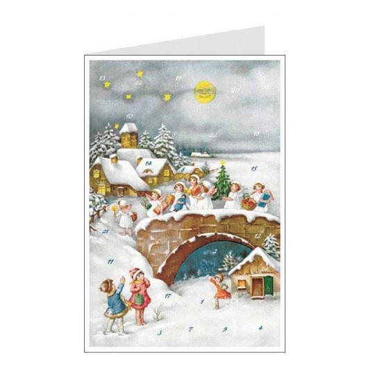 Angels' Arrival Advent Calendar Card ~ Germany