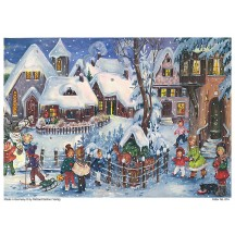 "It's Snowing Christmas Village German Advent Calendar ~ 8-1/4"" by 11-5/8"""