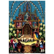 "Children in Church Christmas Advent Calendar ~ 8-1/4"" by 11-5/8"""
