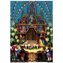 "Children in Church Christmas Advent Calendar ~ 8-1/4"" by 11-5/8"""