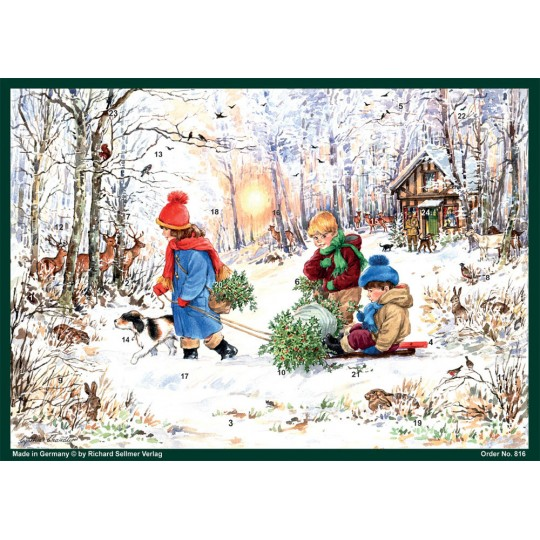 "Enjoying the Woods Christmas Advent Calendar ~ 8-1/4"" by 11-5/8"""