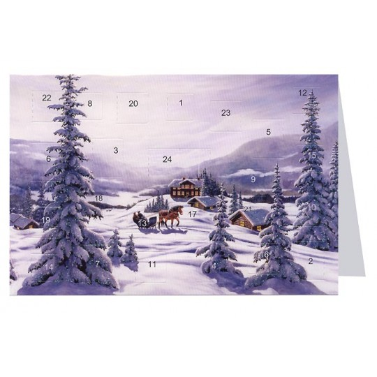 "Snowy Sleigh Advent Calendar Card from Sweden ~ 6-3/4"" x 4-1/2"""