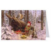 "Tomte Gnome with Moose Advent Calendar Card from Sweden ~ 6-3/4"" x 4-1/2"""