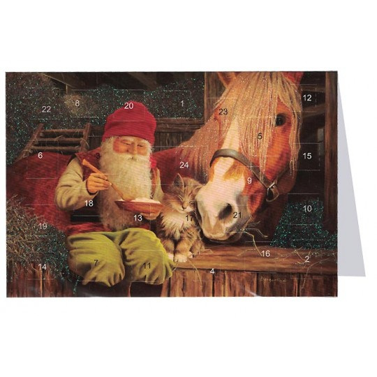 "Tomte Gnome with Horse and Cat Advent Calendar Card from Sweden ~ 6-3/4"" x 4-1/2"""