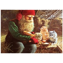 "Tomte Gnome Feeding Cats Advent Calendar from Sweden ~ 13-1/4"" x 10"""