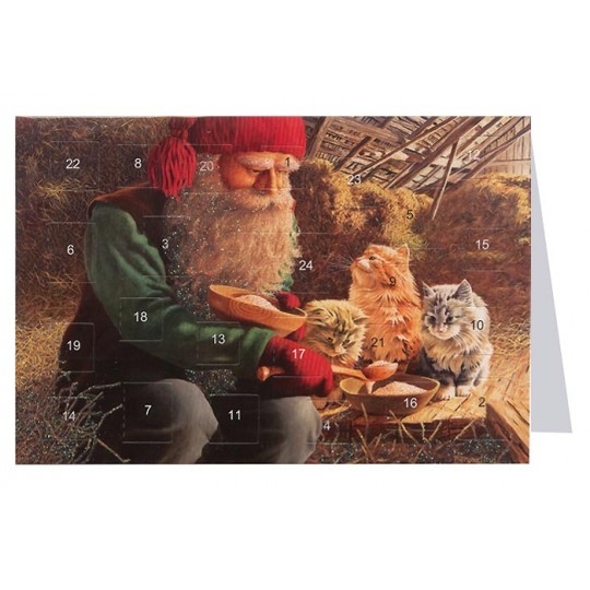 "Tomte Gnome Feeding Cats Advent Calendar Card from Sweden ~ 6-3/4"" x 4-1/2"""