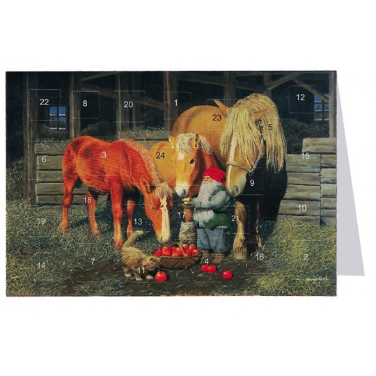 "Tomte Gnome Feeding Horses Advent Calendar Card from Sweden ~ 6-3/4"" x 4-1/2"""