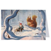 """Tomte Gnome with Large Squirrel Advent Calendar Card from Sweden ~ 6-3/4"""" x 4-1/2"""""""