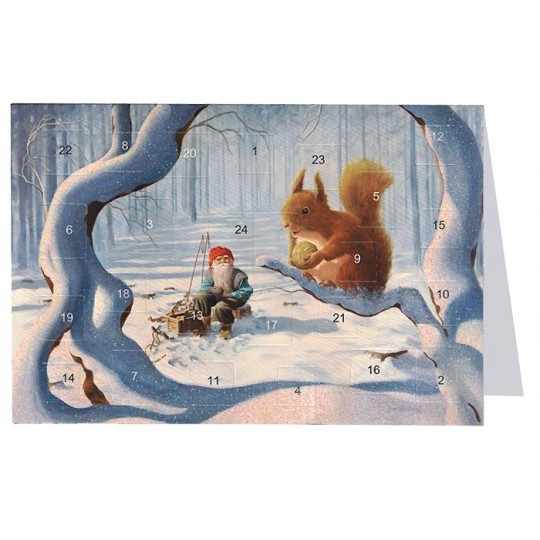 "Tomte Gnome with Large Squirrel Advent Calendar Card from Sweden ~ 6-3/4"" x 4-1/2"""