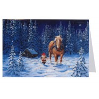 """Tomte Gnome with Horse Advent Calendar Card from Sweden ~ 6-3/4"""" x 4-1/2"""""""