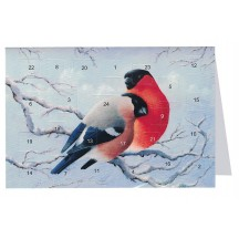"Christmas Birds Advent Calendar Card from Sweden ~ 6-3/4"" x 4-1/2"""
