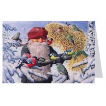 "Tomte Gnome Feeding Birds Advent Calendar Card from Sweden ~ 6-3/4"" x 4-1/2"""