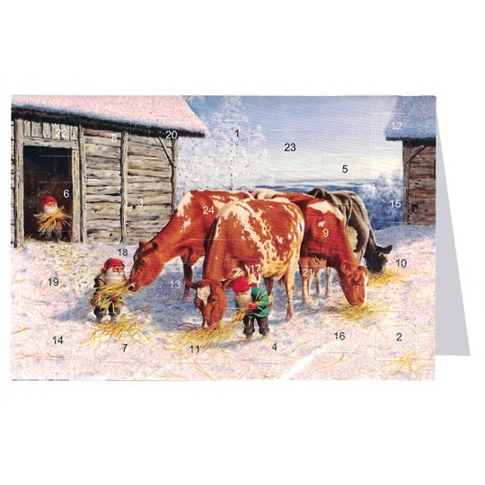 "Tomte Gnomes Feeding Cows Advent Calendar Card from Sweden ~ 6-3/4"" x 4-1/2"""