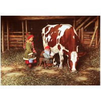 """Tomte Gnome with Girl and Cow Advent Calendar from Sweden ~ 13-1/4"""" x 10"""""""