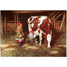 "Tomte Gnome with Girl and Cow Advent Calendar from Sweden ~ 13-1/4"" x 10"""