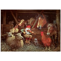 """Tomte Gnome with Farmyard Animals Advent Calendar from Sweden ~ 13-1/4"""" x 10"""""""
