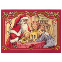 "Santa with Children Miniature Advent Calendar ~ Denmark ~ 7-1/4"" x 5-1/4"""