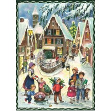 "Christmas Village Vintage Style German Advent Calendar ~ 8-1/4"" by 11-5/8"""