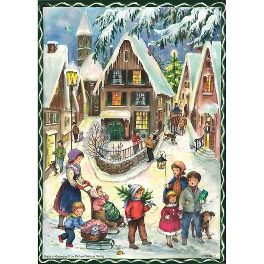 "Christmas Village Vintage Style German Advent Calendar ~ 8-1/4"" by 11-5/8"""