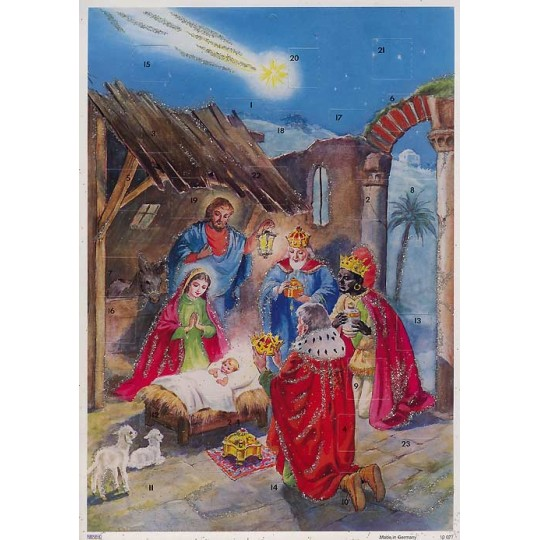 Holy Child and Three Magi Vintage Style Advent Calendar ~ Germany