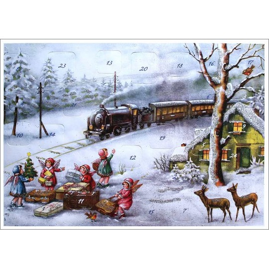 "Snowy Train and Angels Advent Calendar ~ 11-5/8"" x 8-1/4"""
