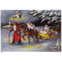 Santa with Angels Sleigh Advent Calendar