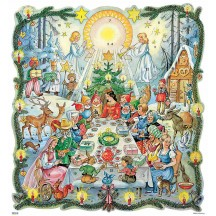 "Beautiful Fairytale Banquet Square Advent Calendar ~ Germany ~ 11-3/4"" x 11"""
