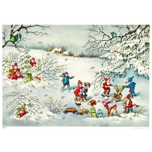 "Gnomes Sawing Logs Advent Calendar ~ 11-5/8"" x 8-1/4"""