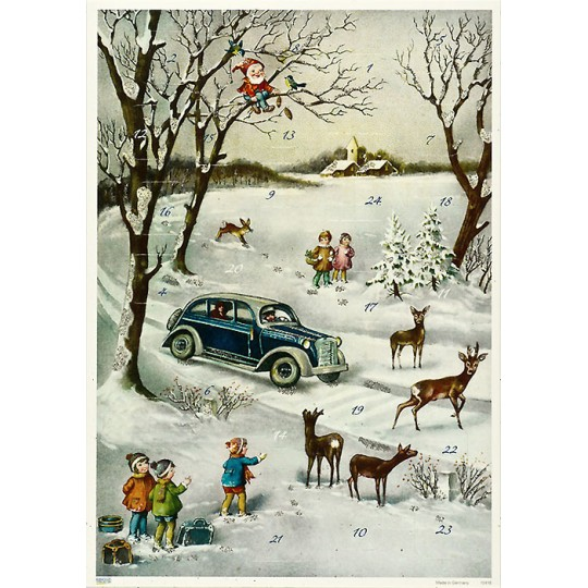 "Snowy Automobile Advent Calendar ~ 11-5/8"" x 8-1/4"""