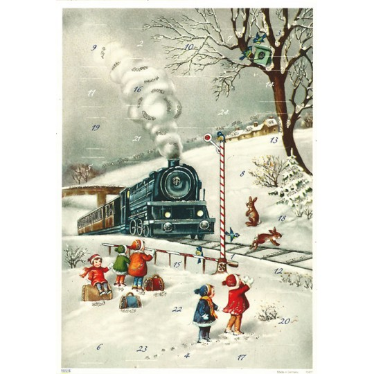 "Snowy Locomotive Advent Calendar ~ 11-5/8"" x 8-1/4"""