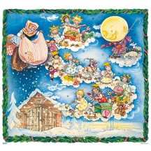 "Beautiful Fairyland Angels Square Advent Calendar ~ Germany ~ 11-3/4"" x 10-3/4"""