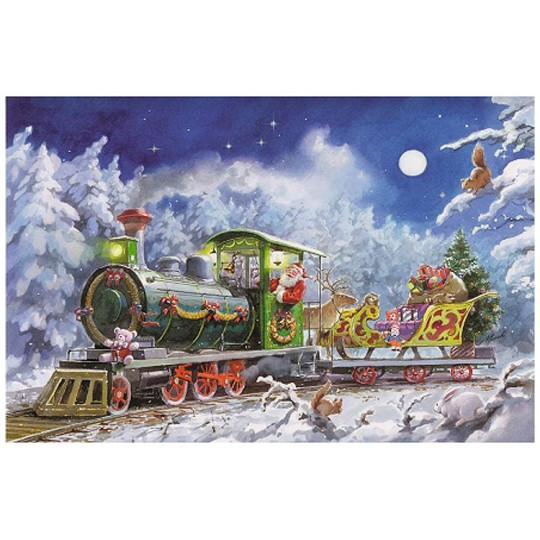 Santa in His Christmas Train Paper Advent Calendar