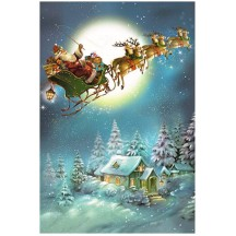 Santa with His Sleigh and Reindeer Paper Advent Calendar