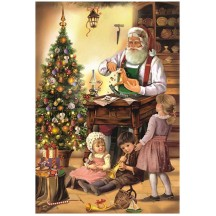 Santa in His Woodshop with Children Paper Advent Calendar