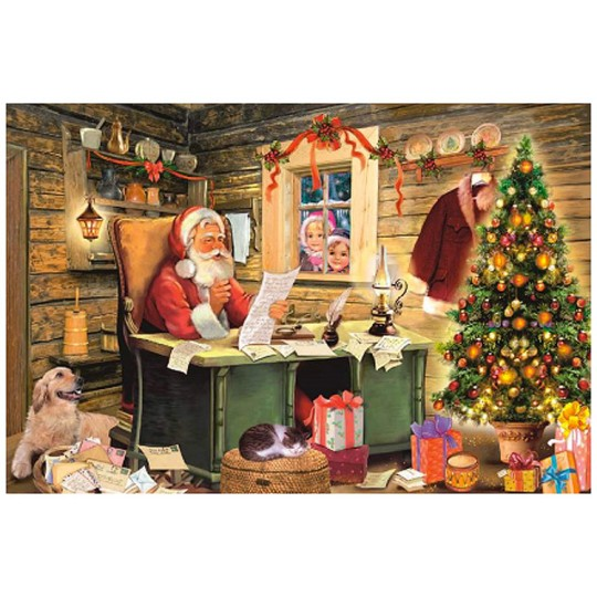 Santa at His Desk Paper Advent Calendar