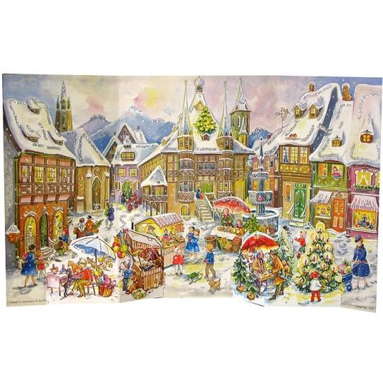 "Snowy Christmas Market Folding Advent Calendar ~ 18-5/8"" by 11-1/4"""