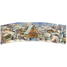 "Snowman Market Folding Advent Calendar ~ 27-1/2"" by 8-1/8"""