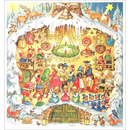 "Storybook Tree Trunk Square Advent Calendar ~ Germany ~ 11"" x 11-3/4"""