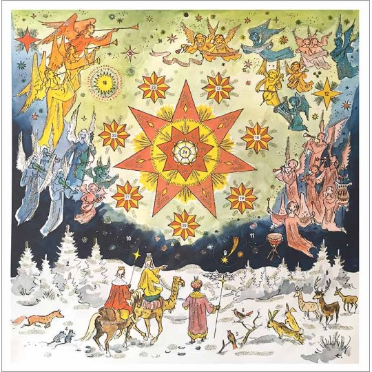 "Beautiful Holy Star Square Advent Calendar ~ Germany ~ 11-1/2"" x 11-1/2"""
