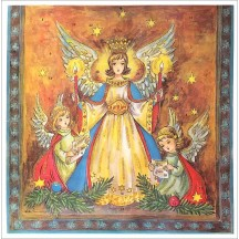 "Hummel Angels with Candles Square Advent Calendar ~ Germany ~ 11-1/2"" x 11-1/2"""
