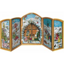 "Christmas Gate 3-D Advent Calendar ~ Germany ~ 8-1/4"" tall"